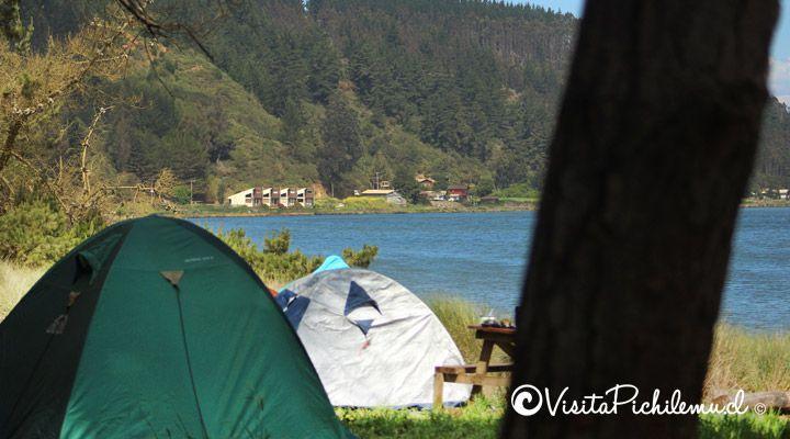 camping millaco junto al lago cahuil