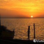 sunset on the lagoon Cahuil, pichilemu